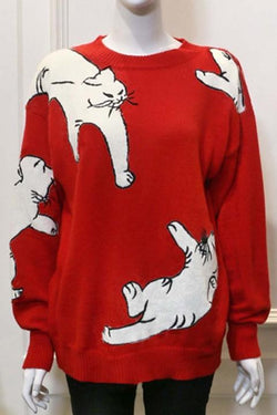 Borical Casual Cat Design Knit Sweater
