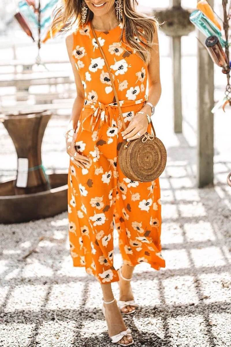 Borical Floral Printed Knot Orange Jumpsuit