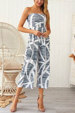 Borical Sexy Wrapped Chest Print Jumpsuit