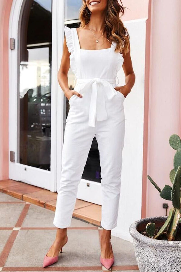 Borical Fashion Casual Ruffled Square Collar Sling Jumpsuit