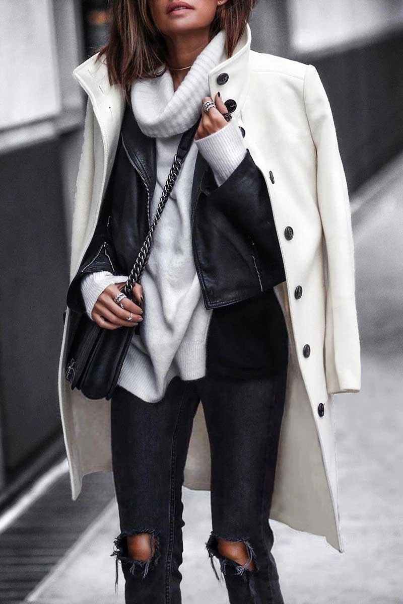 Borical Button Down Long White Coat