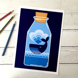 Whale in a Bottle A4 Print