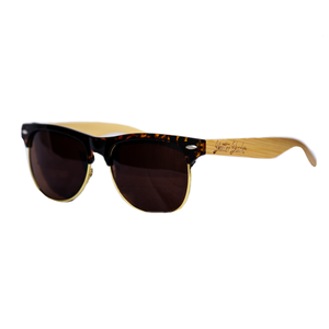 Brown Half Frame Bamboo Sunglasses