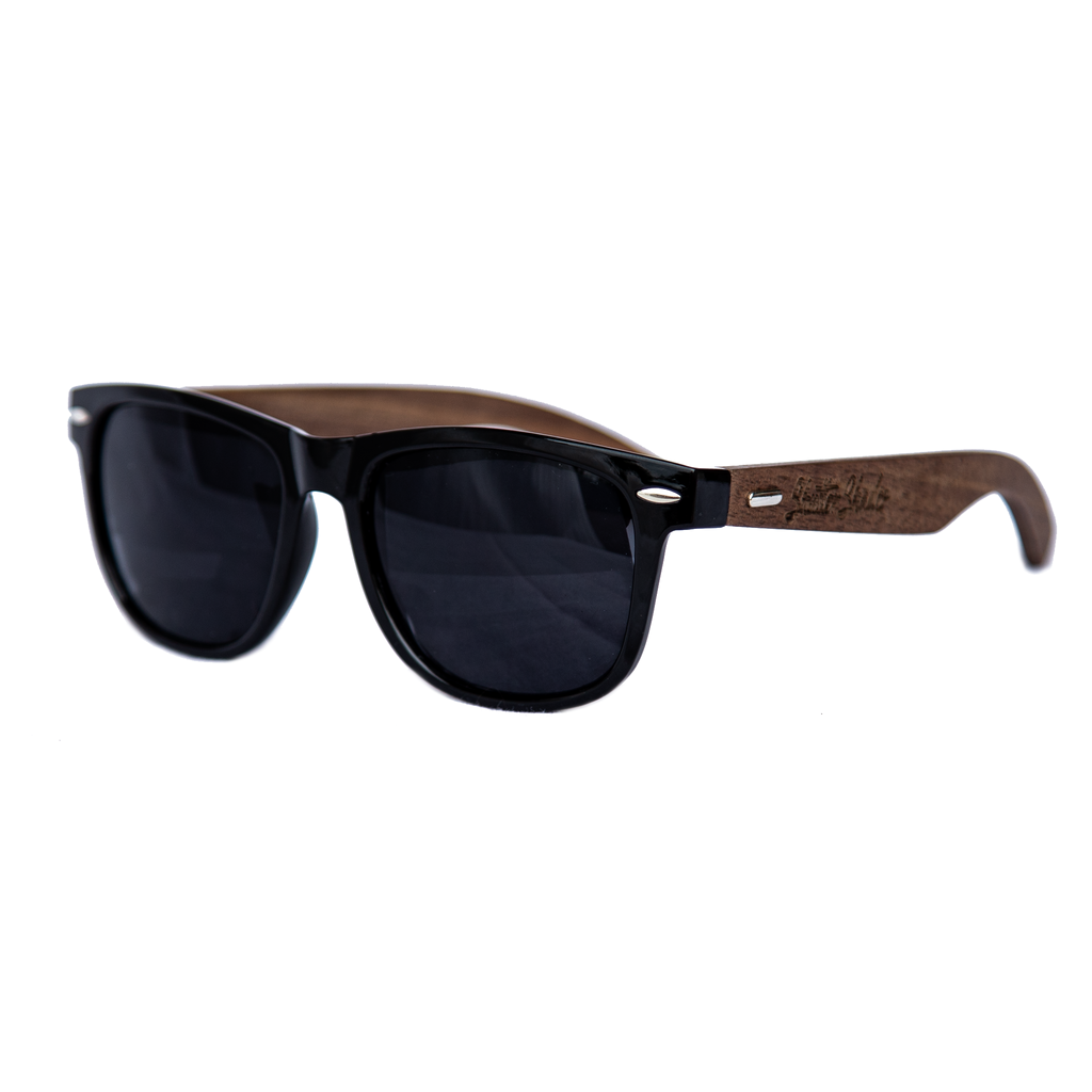 shuttergang shutter shades walnut vintage black polarized sunglasses