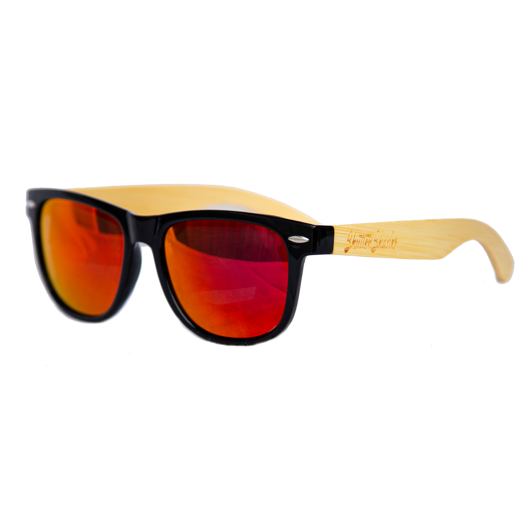 shuttergang shutter shades bamboo polarized fire red gold yellow