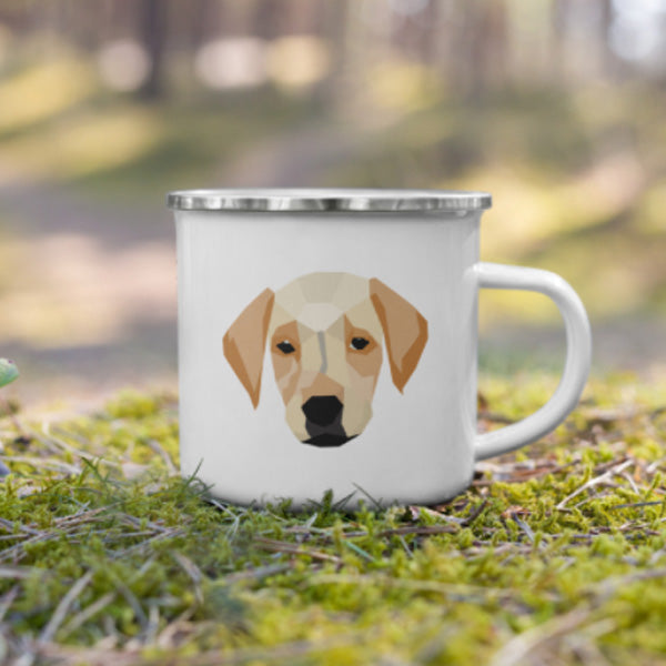 Brown Dog Enamel Camper Mug on grass