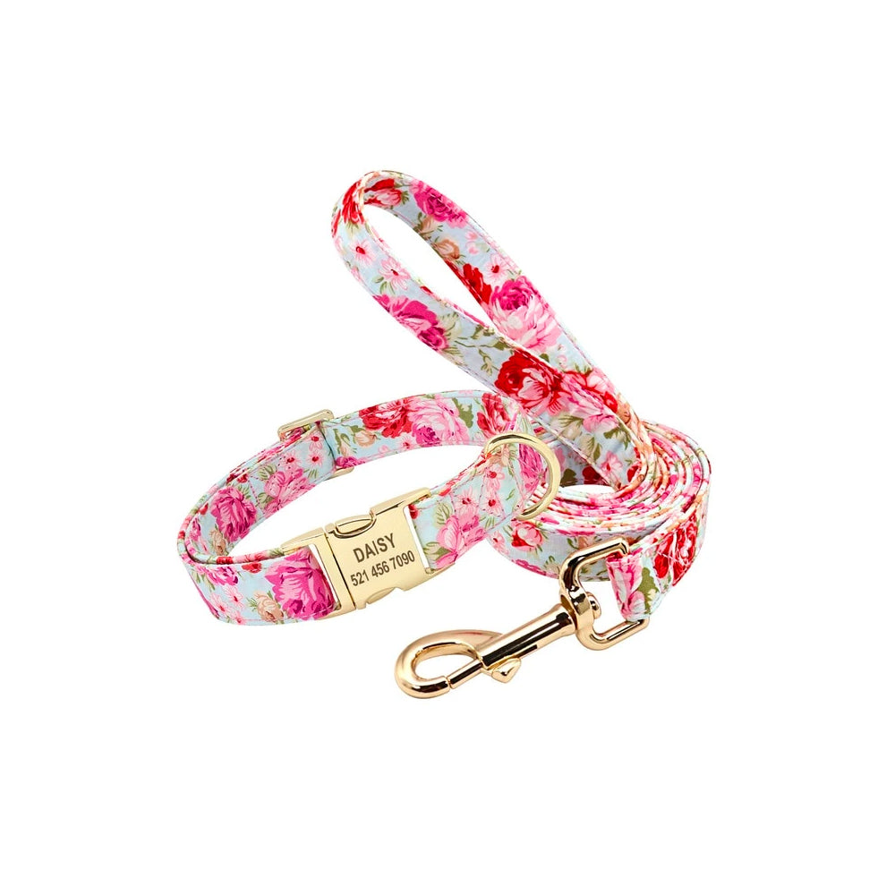 Light blue dog leash with pink flowers