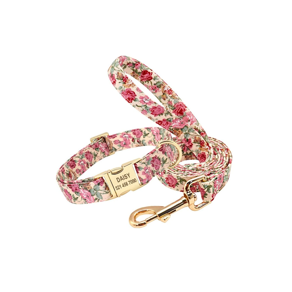 Beige dog leash with flower design