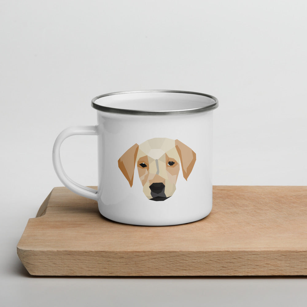 Brown Dog Enamel Camper Mug