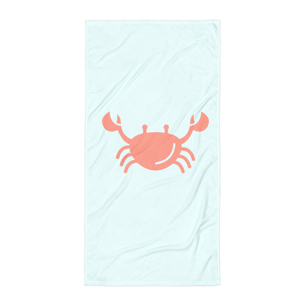 Crab Blue Beach Towel