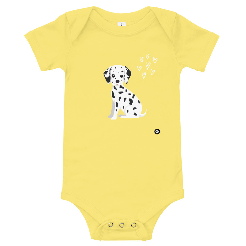 Yellow Dalmatian One-Piece Unisex Baby Bodysuit
