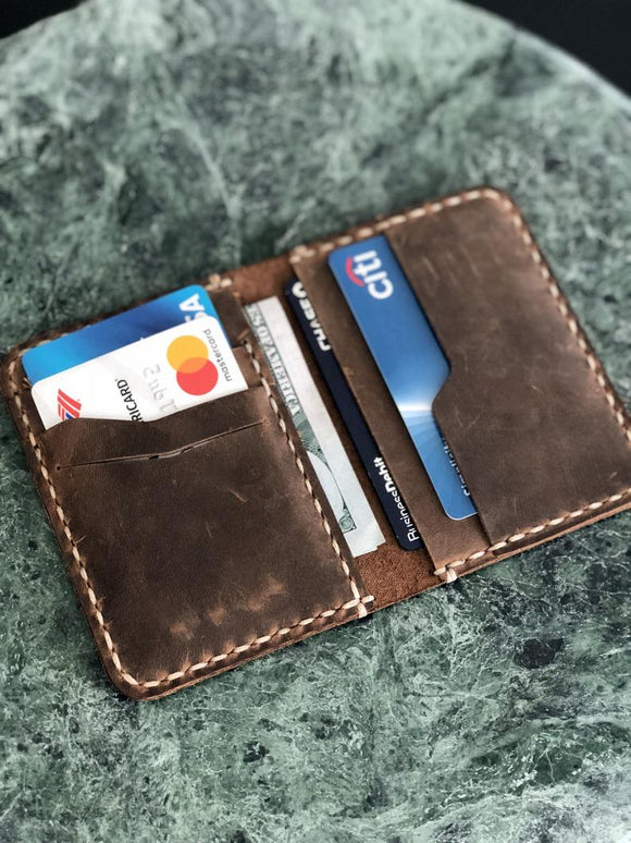 Distressed Leather Slim Bifold Wallet
