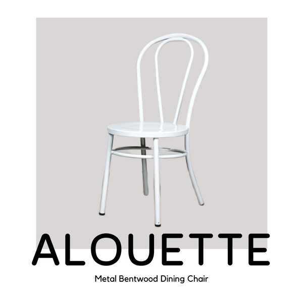 Pinterest image of the ALOUETTE metal bentwood dining chair in our impeccable white finish.