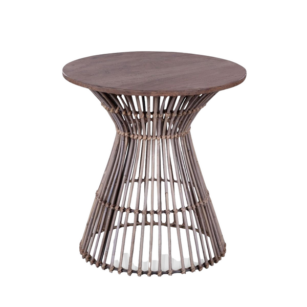 MAKANI Natural Woven Rattan Side Table