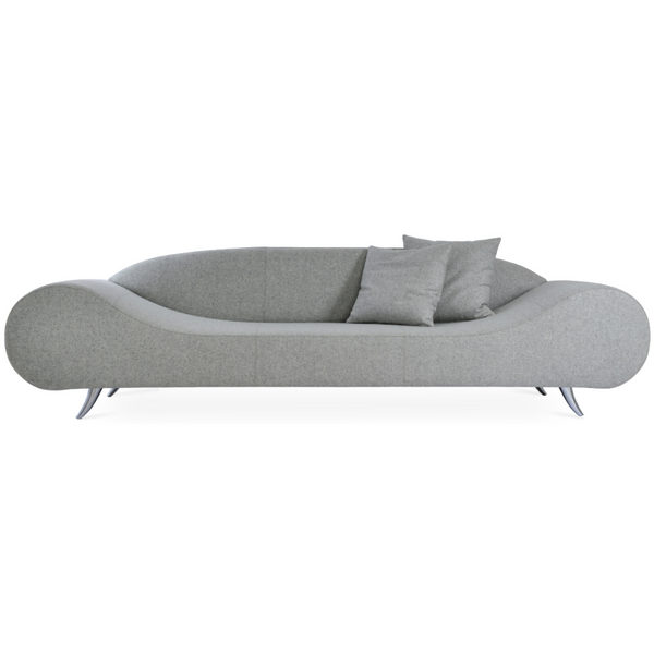 Front view of a modern light gray wool sofa that has broad round ends that slope down to a flat seat platform and chrome legs. low contoured integrated back.