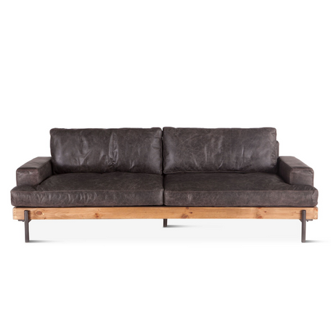 JAGGER Distressed Leather Platform Sofa