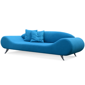 Slightly slanted front view of a modern bright blue sofa that has broad round ends that slope down to a flat seat platform and chrome legs. low contoured integrated back.