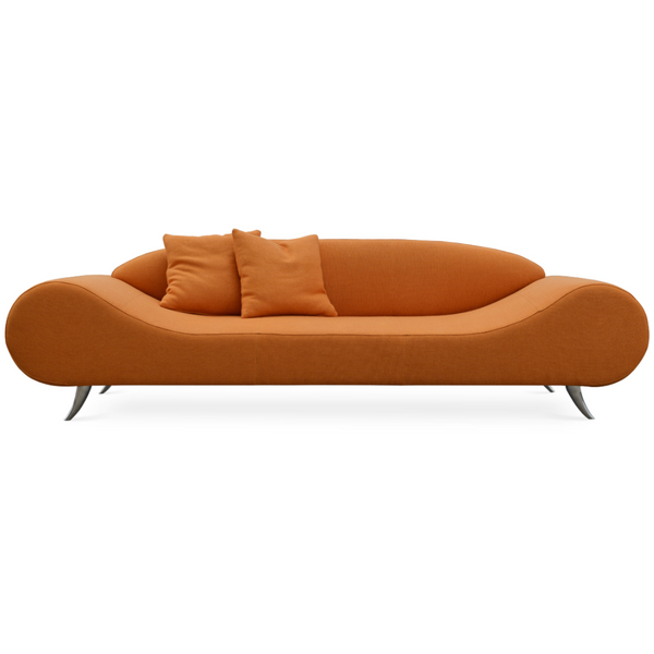 Front view of a modern orange tweed sofa that has broad round ends that slope down to a flat seat platform and chrome legs. low contoured integrated back.