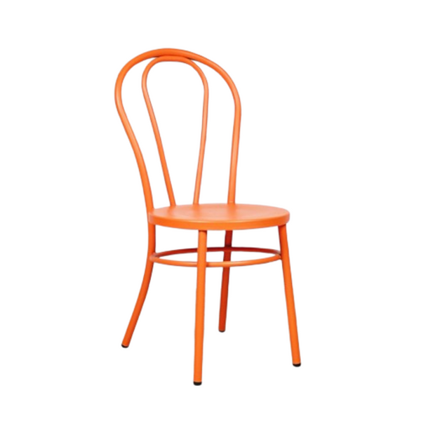 ALOUETTE metal bentwood dining chair in our  vibrant orange glow finish.