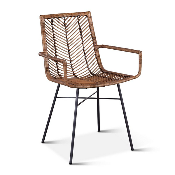 MAKANI Natural Woven Rattan Dining Arm Chair