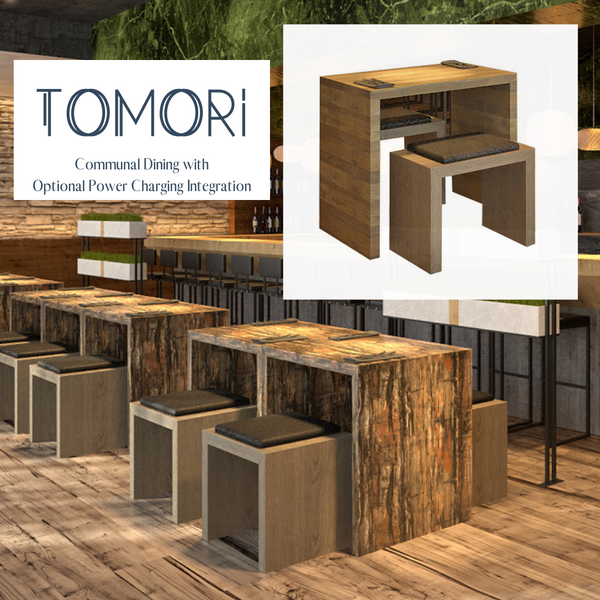 TOMORI Communal Dining Table w/ Optional Power Charging Integration