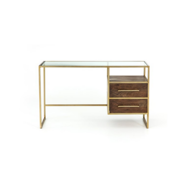 front view minimal open frame desk with aged brass finish and glass top. two medium brown acacia wood floating drawers.