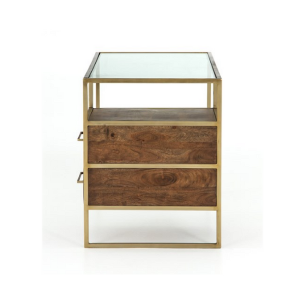 Alanzo open concept desk - side view. Glass top, aged brass frame and medium brown acacia wood drawers.