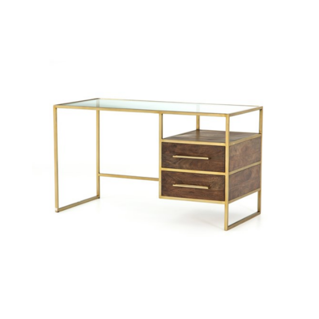 slightly slanted front view minimal open frame desk with aged brass finish and glass top. two medium brown acacia wood floating drawers.