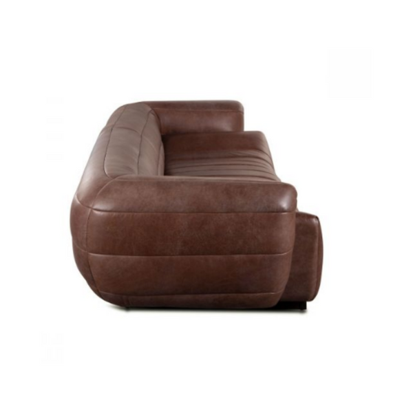 Sideview of the chunky wrap around low profile sofa showing the wide horizontal channeling.  Sofa depicted in a distressed medium brown leather.