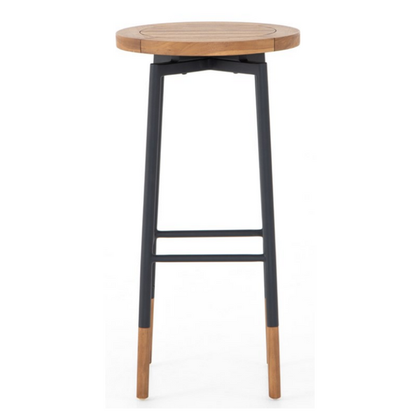 AZORIN Natural Teak Backless Swivel Bar Stool