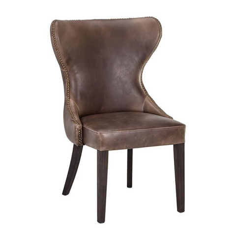 BAXTER Tufted Leather Wingback Dining Chair