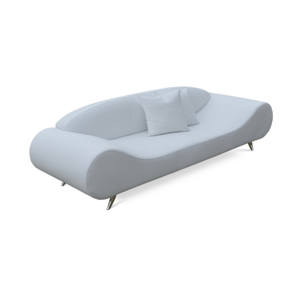 Slightly slanted front view of a modern white leather sofa that has broad round ends that slope down to a flat seat platform and chrome legs. low contoured integrated back.