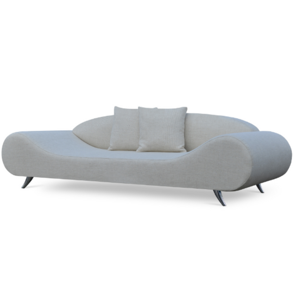 Slightly slanted front view of a modern pale gray wool sofa that has broad round ends that slope down to a flat seat platform and chrome legs. low contoured integrated back.