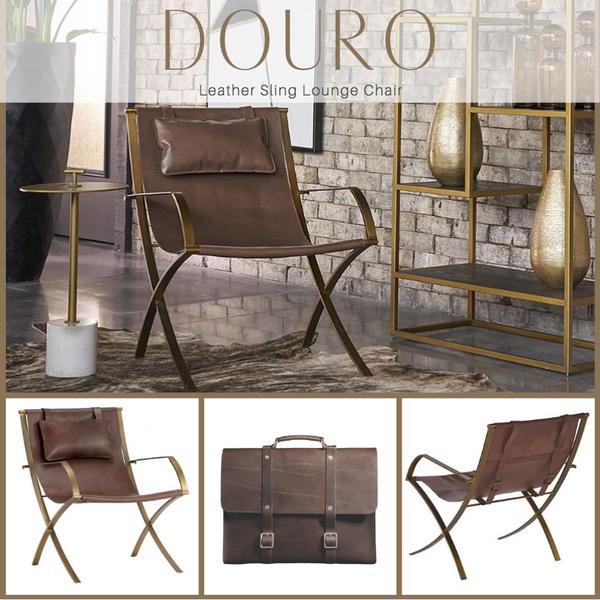 DOURO Brass Frame Leather Sling Lounge Chair