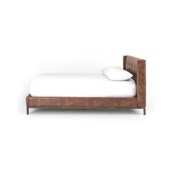 GIORDANO Vintage Leather Tufted Bed