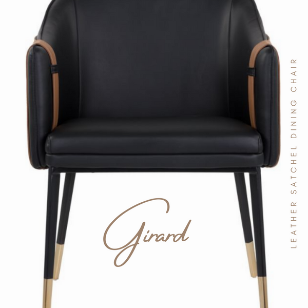 GIRARD Leather Satchel Dining Arm Chair