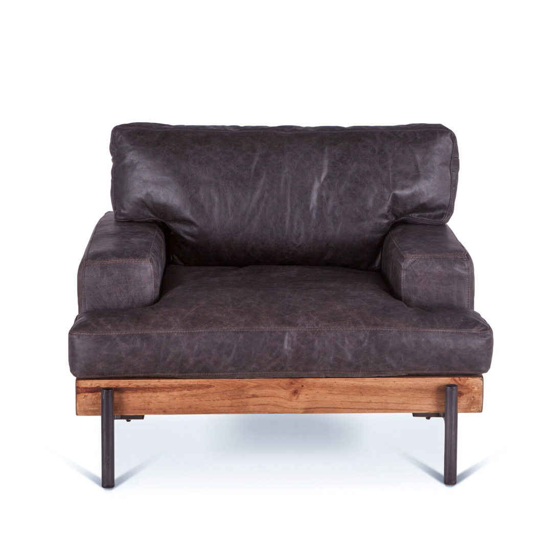 JAGGER Distressed Leather Platform Lounge Chair