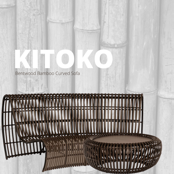 KITOKO Bamboo Bentwood Outdoor Patio Curved Sofa