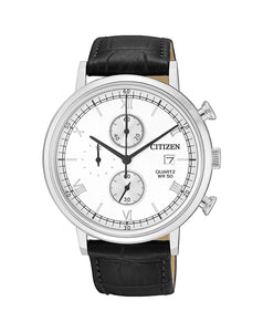 Citizen Men's 41mm Analog Chronograph Watch, Leather Strap AN3610-12A