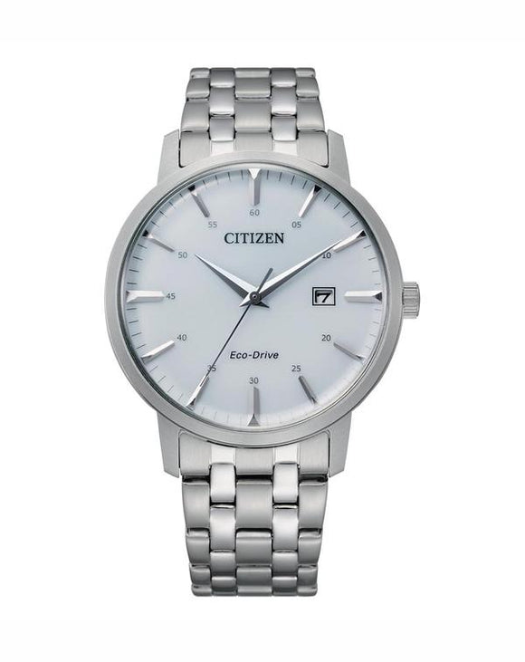 Citizen Men's Eco Drive White Face Silver Stainless-Steel Watch BM7460-88H
