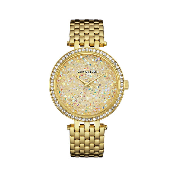 Caravelle by Bulova Women's 44L235 Modern Crystal Rock Dial Gold-Tone Watch