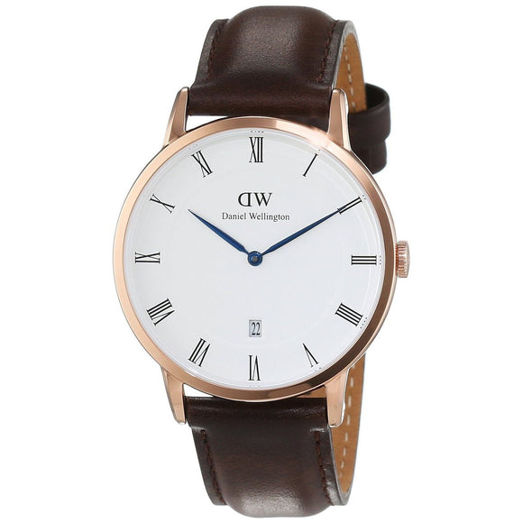 Daniel Wellington 38mm Unisex 1103DW 'Dapper Bristol' Brown Leather Watch