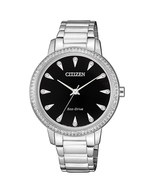 Citizen Swarovski Crystal Black Silver Watch FE7040-53E