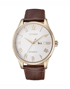 Citizen Rose Gold Leather Automatic Mens Watch NH8363-14A