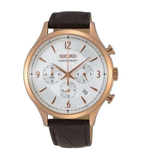 Seiko Chrono Rose Gold Brown Leather Watch SSB342P