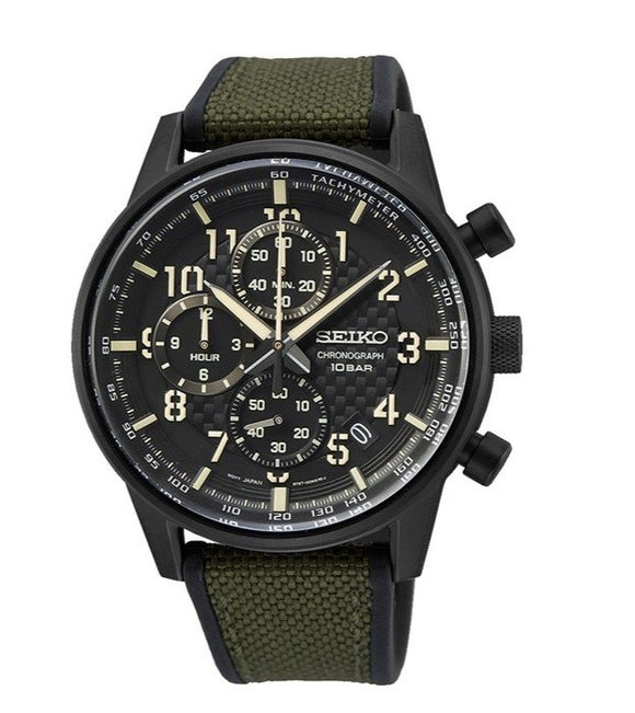 Seiko  Chronograph Quartz Black Dial Men's Watch SSB373P