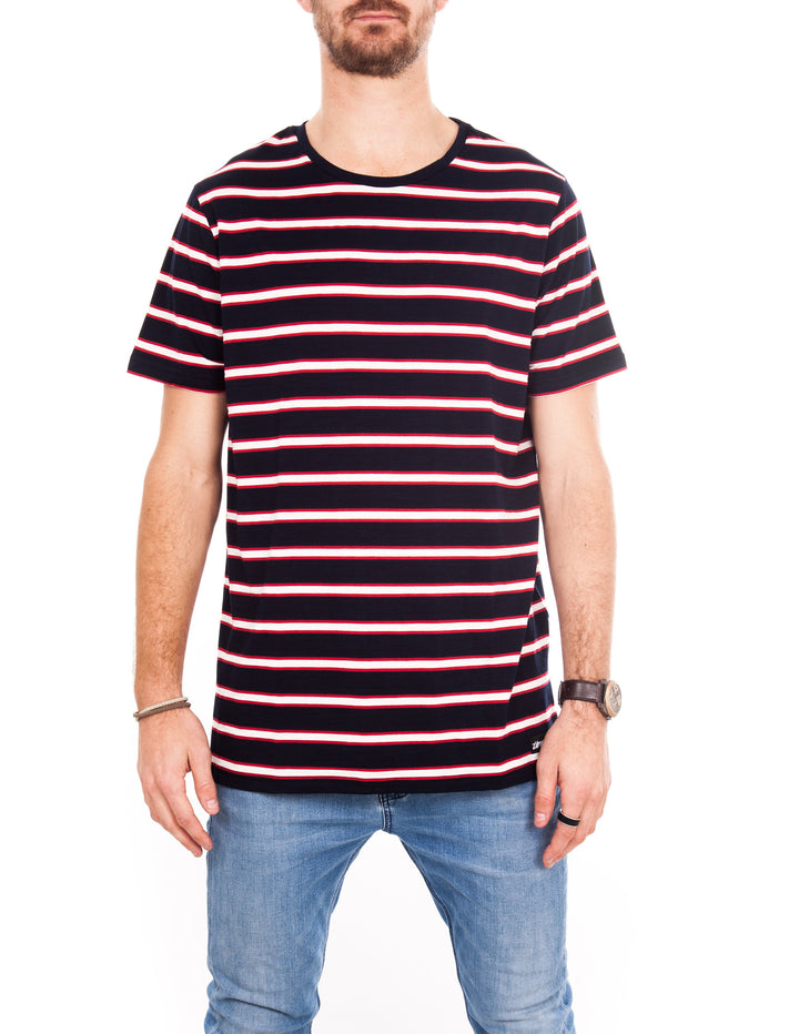 Crew Tee - Navy, White & Red Stripe