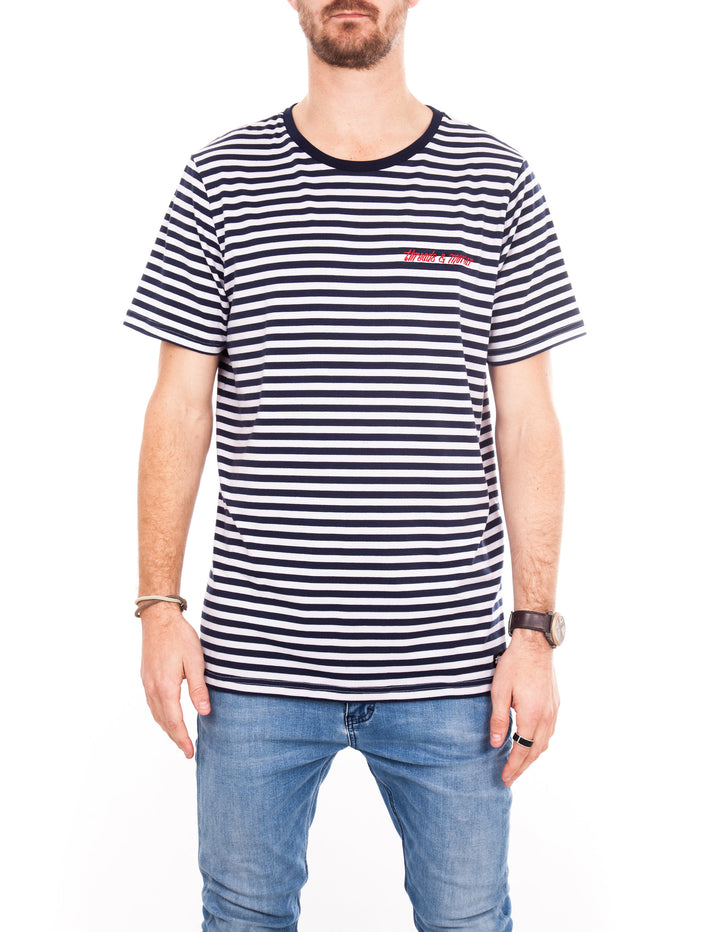 Crew Tee - Blue & White Stripe Logo