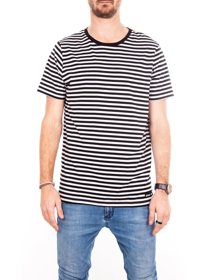Crew Tee - Black & White Stripe