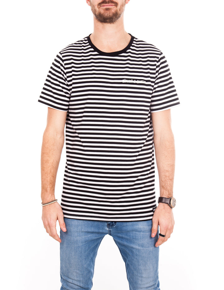 Crew Tee - Black & White Stripe Logo